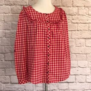 Anthro/Holding Horses Gingham Ruffle Top, 12